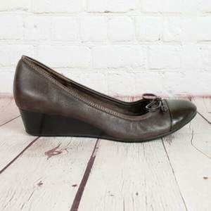 Cole Haan Air Leather Bow Cap Toe Ballet Wedges